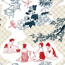Japanese Vector Pattern Tea Ce...