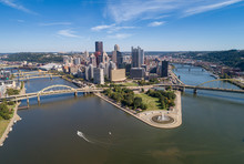 Pittsburgh Cityscape And Business District, Downtown Point State Park In Background. Rivers In And Bridges In Background. Pennsylvania.