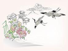 Japanese Chinese Vector Design Ink Flower Engraved Colorful Card Bakground Birds Crans Landscape Building Chrysantemum