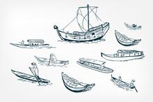 Japanese Boats Ship Sketch Vector Illustration Ink Design Elements