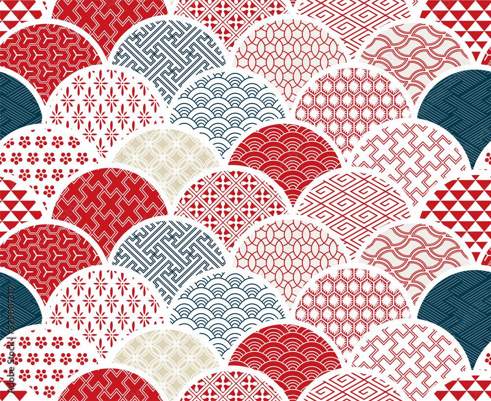 traditional geometric kimono pattern vector sketch illustration line art japanese chinese oriental design