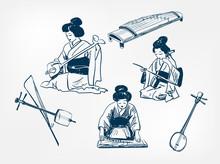 Koto Sanshin Kokyu Japanese Vector Sketch Illustration Engraved Chinese Musical Instrument Kimono Girl