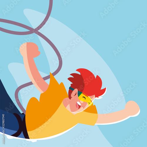 Fototapeta man jumping off with a rope, extreme sport obraz na płótnie