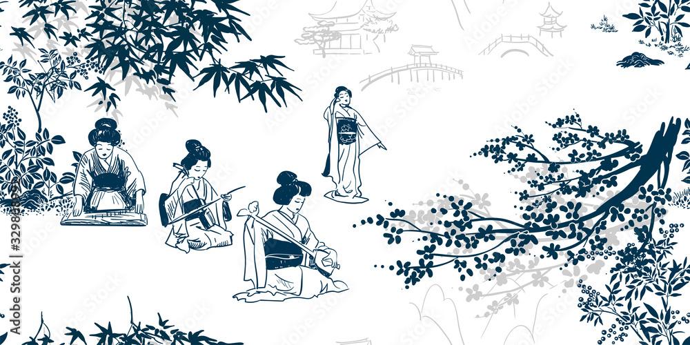 vector ink illustration sketch japanese chinese style line art design seamless pattern kimono girl plays music