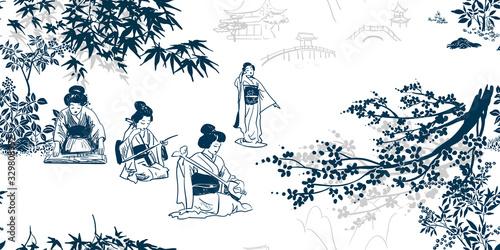 Valokuva vector ink illustration sketch japanese chinese style line art design seamless p