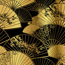 Fan Flower Unbrella Vector Japanese Chinese Seamless Pattern Design Gold Black