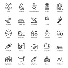 Camping And Hiking Line Icons...