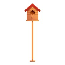 Bird House On Pillar Icon. Cartoon Of Bird House On Pillar Vector Icon For Web Design Isolated On White Background