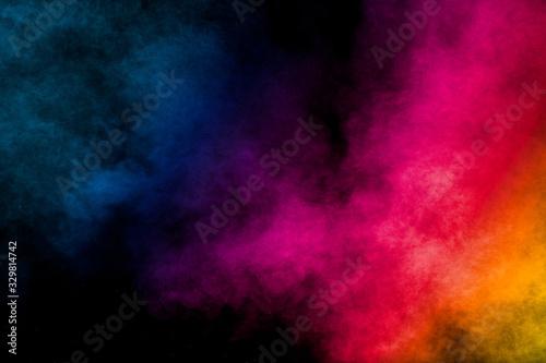 Multi colored particles explosion on black background Slika na platnu
