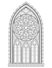 Beautiful Gothic Stained Glass Window With Rose. Medieval Architecture In Western Europe. Black And White Fantasy Drawing For Coloring Book. Worksheet For Children And Adults. Vector Image.
