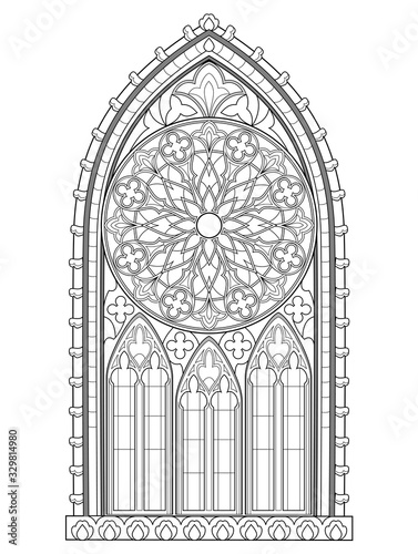 Fototapeta Beautiful Gothic stained glass window with rose