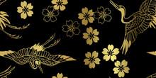 Sakura Flower Bird Crane Japanese Chinese Design Vector Seamless Pattern