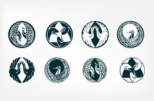 Japanese Chinese Vector Design Heraldic Badge Set Bird Crane