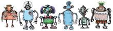 Team Of Robots. Vintage Toys. ...