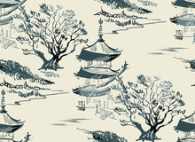 Temple Nature Landscape View Vector Sketch Illustration Japanese Chinese Oriental Line Art Seamless Pattern