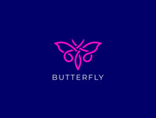 Butterfly Logo. Luxury Line Lo...