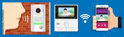 video intercom system audio mobile app closed circuit television doorbell preven Wallpaper Mural