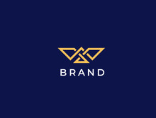 Flying Bird Vector Logo. Luxury Bird, Eagle, Hawk, Vector Line Logotype Design. Universal Premium Falcon Wing Symbol Logotype.