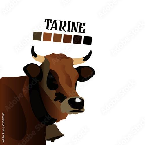 Vache Tarrine illustration Fotobehang