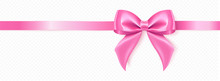 Vector Illustration.Decorative Pink Ribbon Bow, Realistic Holiday Rope Isolated On White Background With Transparent Shadow.
