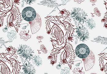 Fototapeta Orientalny phoenix wallpaper vertical ornate oriental japanese chinese vector design seamless pattern