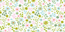 Pattern With Simple Pretty Small Flowers, Little Floral Liberty Seamless Texture Background. Spring, Summer Romantic Blossom Flower Garden Seamless Pattern For Your Designs