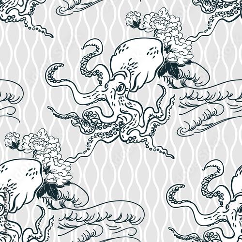 Fotografia octopus oriental japanese chinese vector design seamless pattern