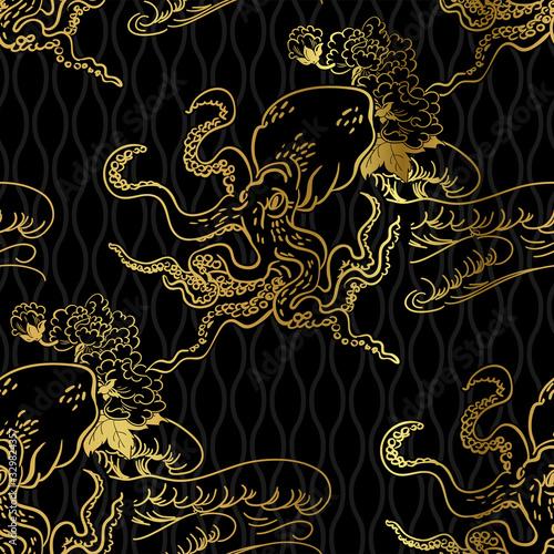 Платно octopus oriental japanese chinese vector design seamless pattern