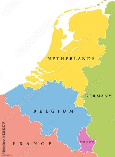 Benelux single states political map Canvas Print