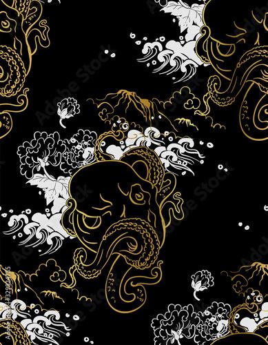 octopus oriental japanese chinese vector design seamless pattern Canvas Print