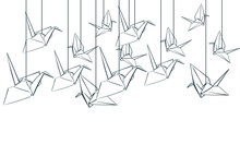 Paper Cranes Origami Japanese Chinese Oriental Vector Ink Style Design Elements Illustration