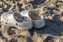 Beach Scene - White Crocs On T...