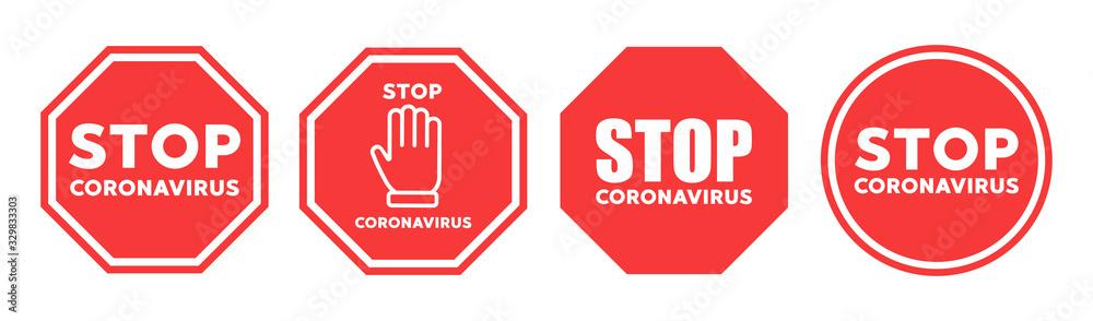 Fototapeta Stop coronavirus icon vector sign