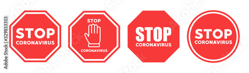 Stop coronavirus icon vector sign Wallpaper Mural