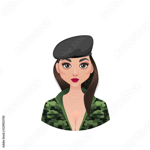 Military girl commander in a beret Canvas