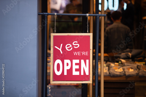 yes we're open sign , vintage restaurant sign , Open sign in street cafe Canvas Print