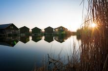 Boathouse On Lake Neusiedlersee In Burgenland