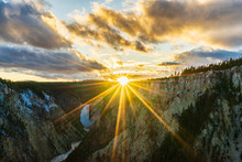 The Sun Setting At Yellowstone...