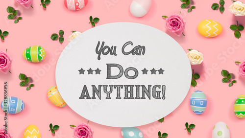 You can do anything message with Easter eggs on a pink background Wallpaper Mural