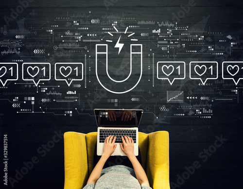 Get more likes concept with person using a laptop in a chair Wall mural