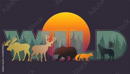 Vector animal silhouettes_composition wild forest and animals Canvas Print