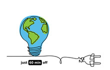Earth Hour Day Vector Sketch C...
