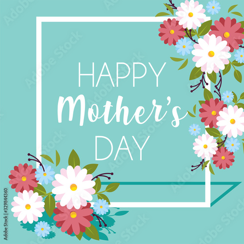 card with label happy mothers day and flower frame Poster Mural XXL