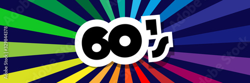 Photo Sixties on radial stripes background