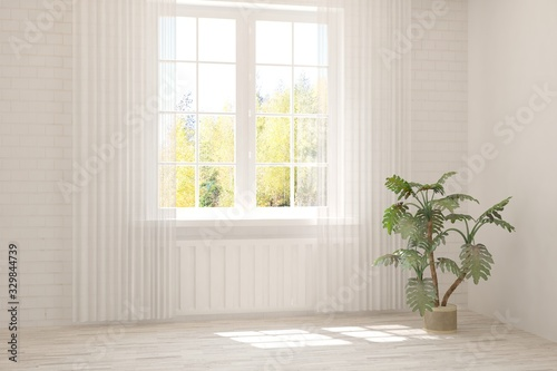 obraz dibond Empty room in white color. Scandinavian interior design. 3D illustration