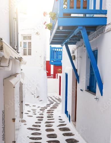 Side street between houses in Mykonos, Greece Canvas Print