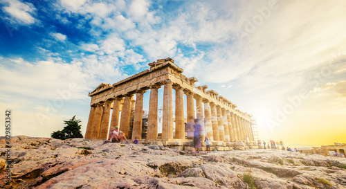 Panoramic view of the Parthenon at sunset, Acropolis, Athens Canvas Print