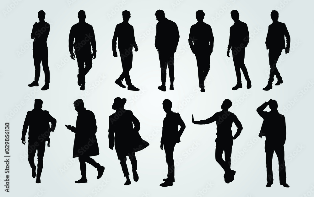 Fototapeta Silhouettes of Casual People in a Row. man silhouette vector
