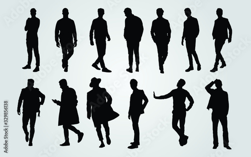 Fototapeta Silhouettes of Casual People in a Row. man silhouette vector obraz