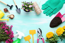 Different Garden Tools With Fl...